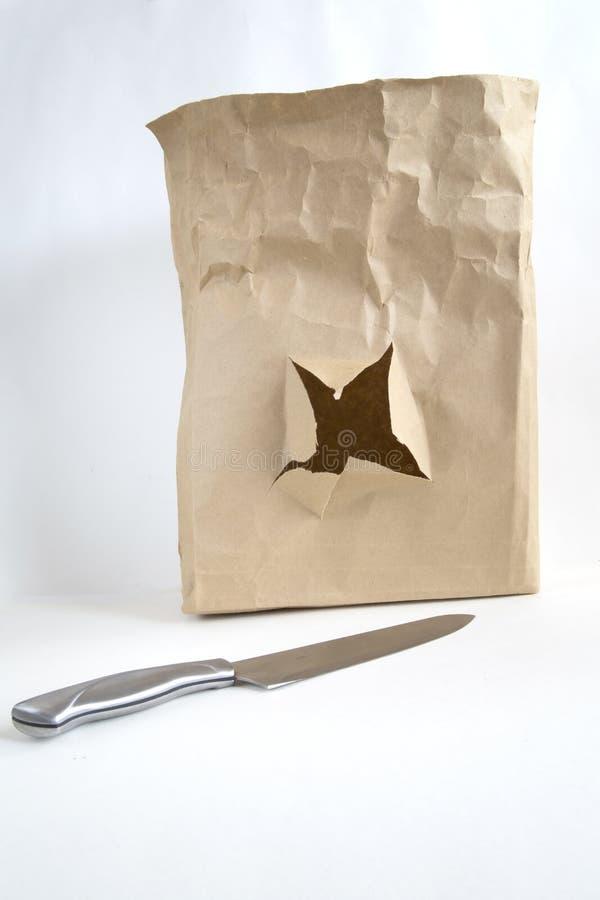 Bolso de Brown con el agujero imagen de archivo libre de regalías
