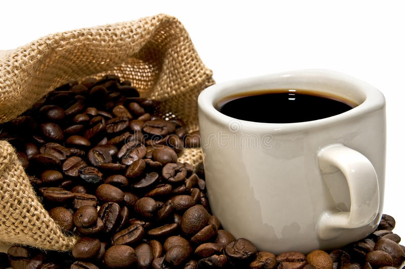 Bolso de café con la taza imágenes de archivo libres de regalías