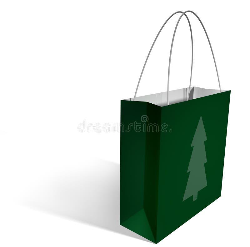 Bolso de compras - árbol de navidad ilustración del vector