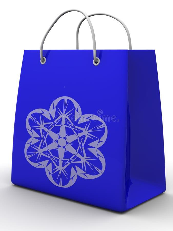 Bolso de compras con el copo de nieve ilustración del vector