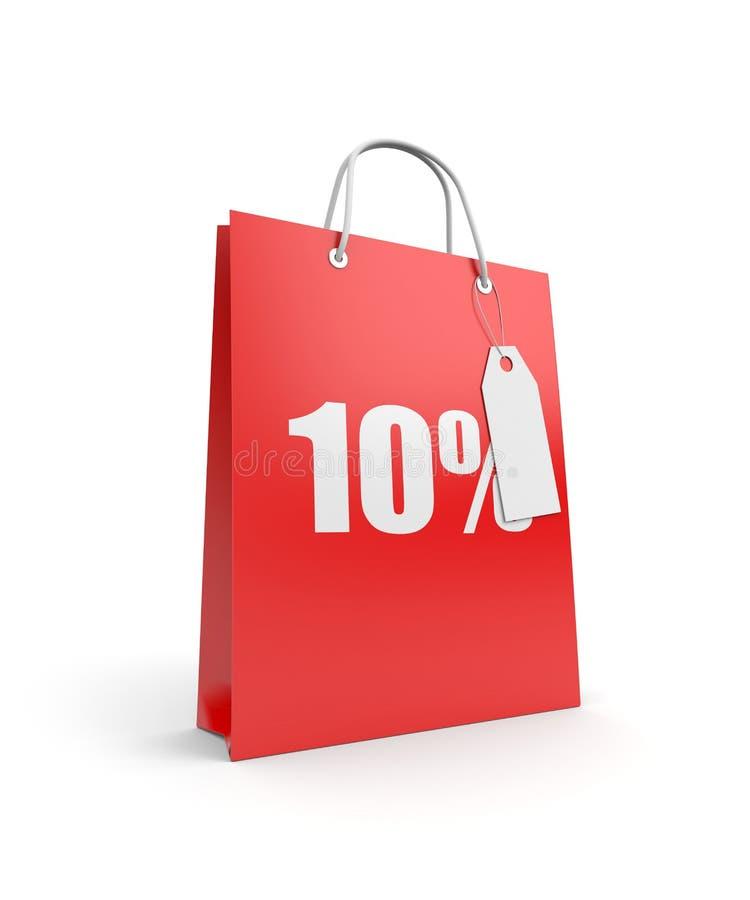 Bolso de compras con la escritura de la etiqueta stock de ilustración