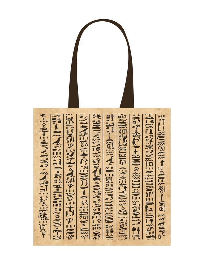 Bolso de compras de papel con los jeroglíficos de Egipto para su stock de ilustración