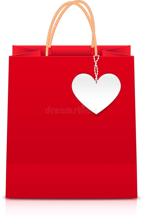 Bolso de compras de papel rojo con la escritura de la etiqueta blanca del corazón ilustración del vector