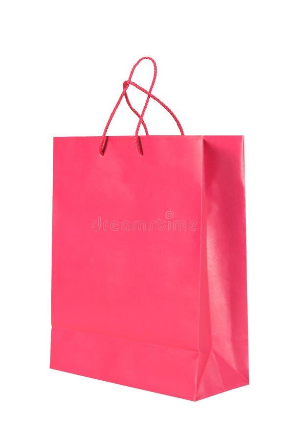 Bolso de compras de papel rosado oscuro fotos de archivo libres de regalías