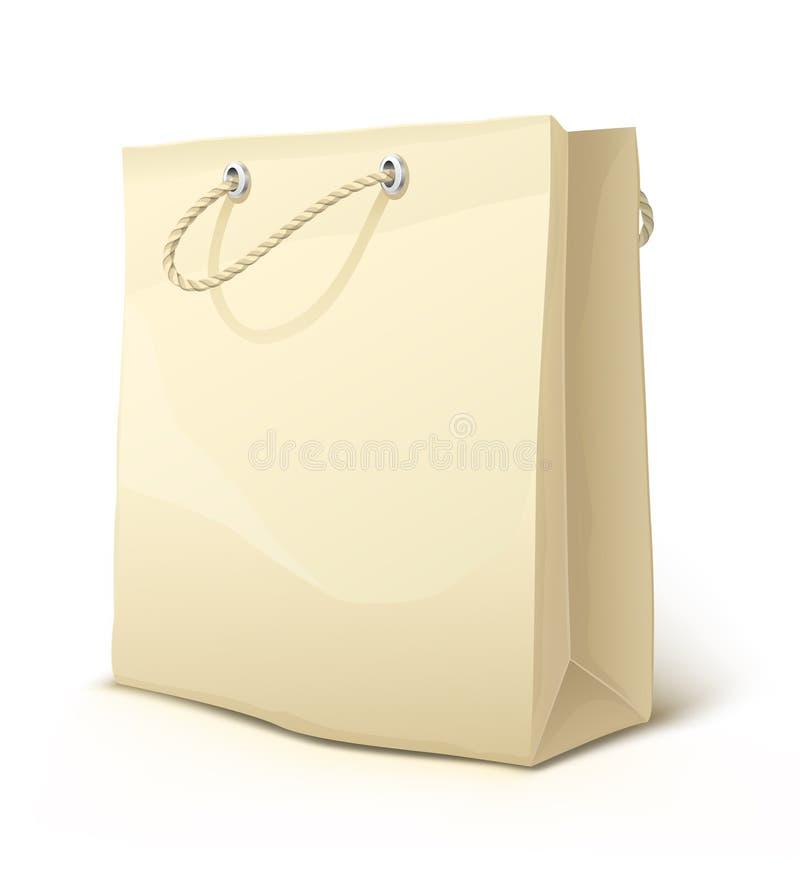 Bolso de compras de papel vacío con las manetas aisladas ilustración del vector