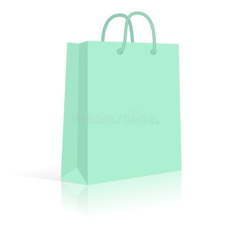 Bolso de compras del papel en blanco con las manijas de la cuerda Menta Vector stock de ilustración