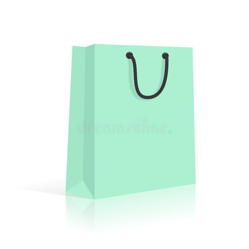 Bolso de compras del papel en blanco con las manijas de la cuerda Menta Vector libre illustration