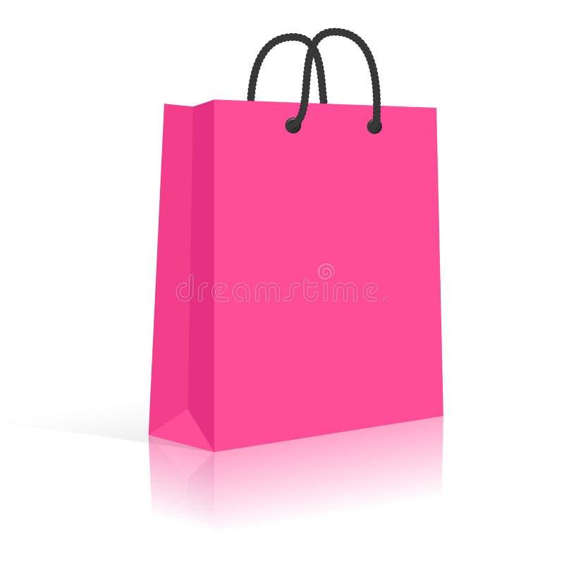 Bolso de compras del papel en blanco con las manijas de la cuerda. ilustración del vector