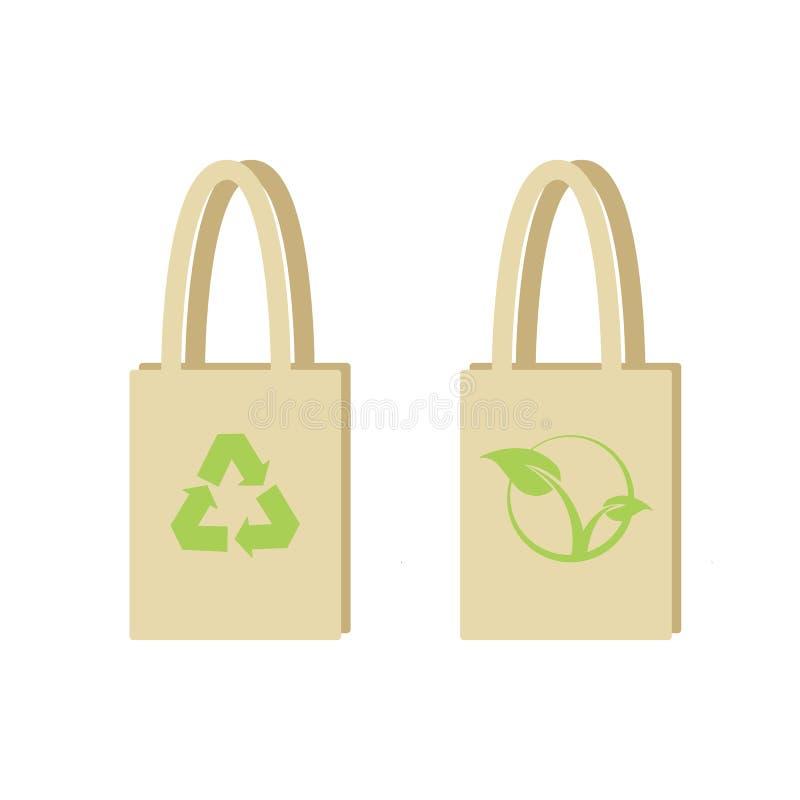 Bolso de compras de Eco El bolso con verde recicla símbolo stock de ilustración