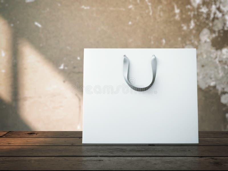 Bolso de compras en el vector de madera imagen de archivo libre de regalías