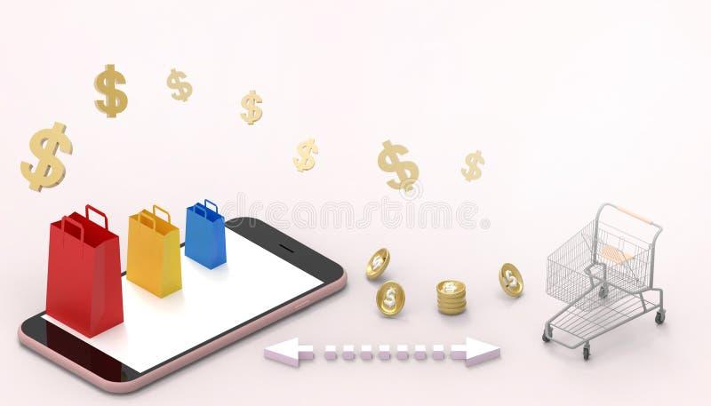 Bolso de compras en línea del concepto del mercado de las ventas en página web o la aplicación móvil y el rosa de comercializació libre illustration