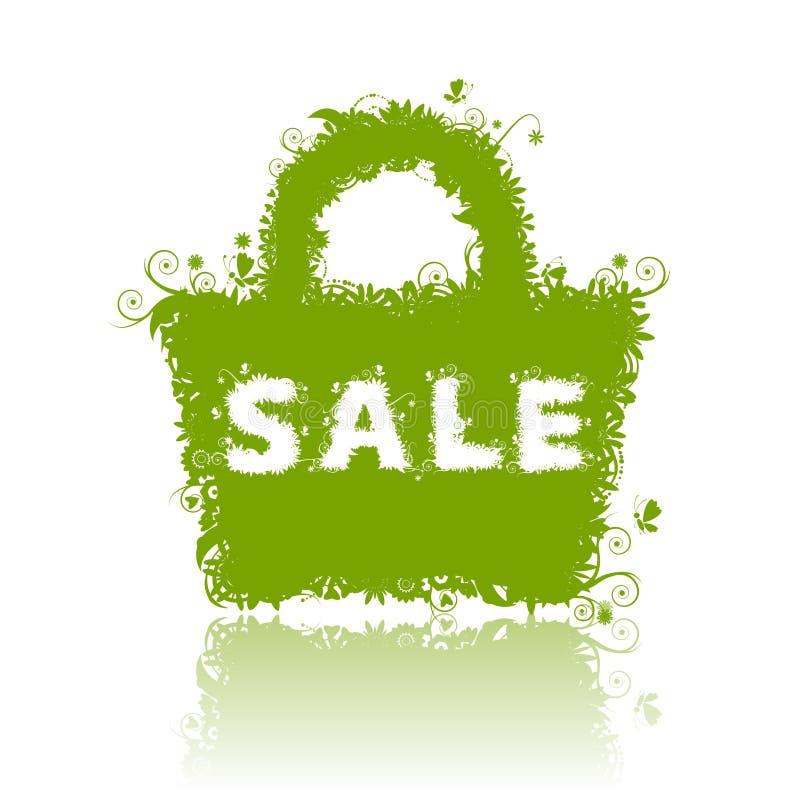 Bolso de compras floral, venta del verano. stock de ilustración