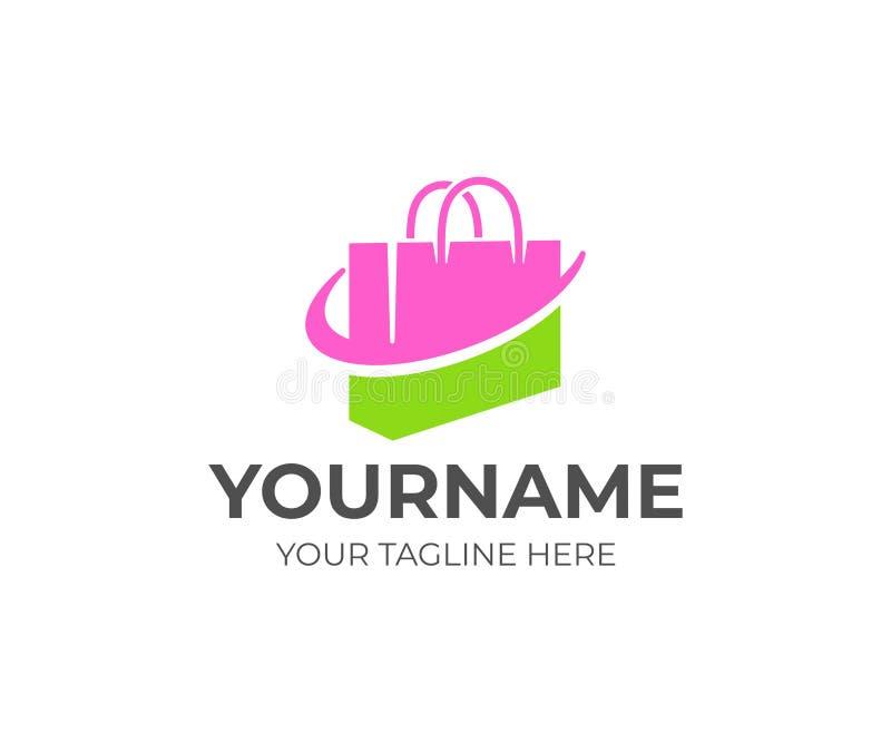 Bolso de compras o bolso, paquete y tienda en línea, diseño del logotipo Paquete, tienda o tienda, venta al por menor, centro com libre illustration