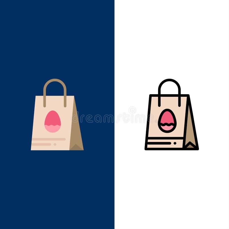 Bolso de compras, bolso, Pascua, iconos del huevo El plano y la línea icono llenado fijaron el fondo azul del vector stock de ilustración