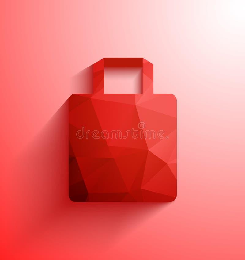 Bolso de compras rojo Panier abstracto de la forma poligonal con la sombra larga stock de ilustración