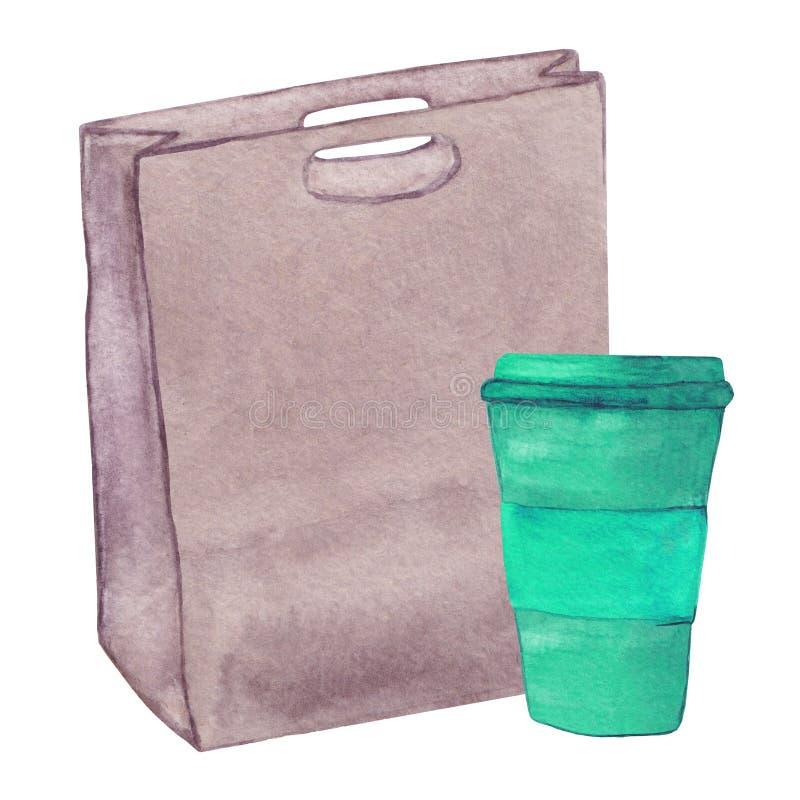 Bolso de cuero de la acuarela con una taza de café stock de ilustración