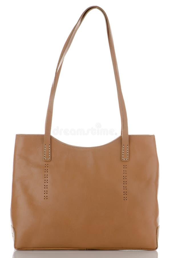 Bolso de cuero marrón mujeril imagen de archivo