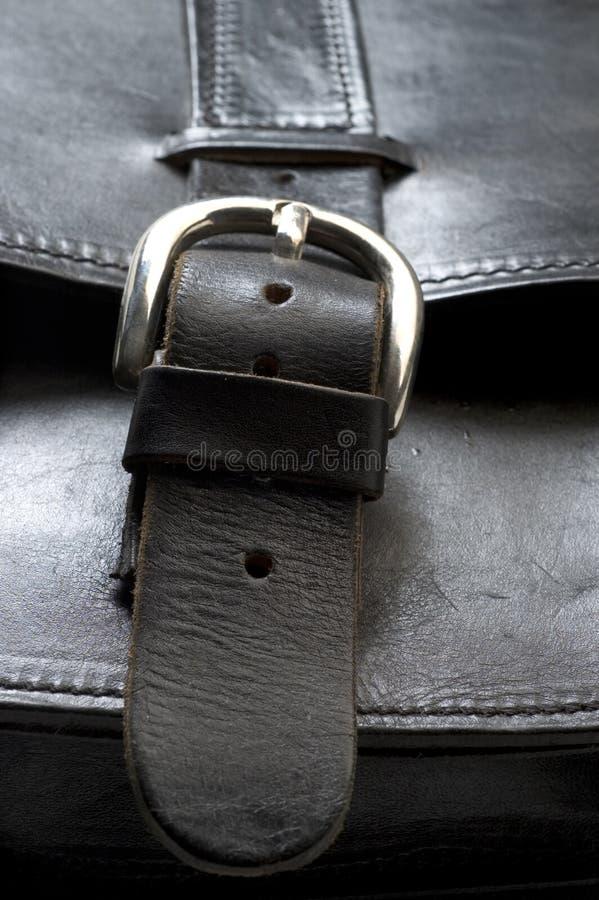 Bolso de cuero negro hecho a mano imagenes de archivo