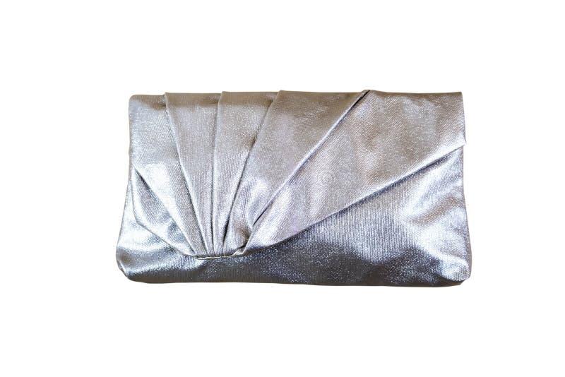 Bolso de embrague de plata de las mujeres foto de archivo libre de regalías