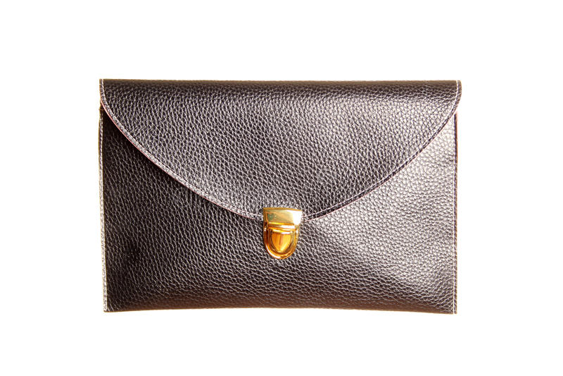 Bolso de embrague negro femenino foto de archivo libre de regalías