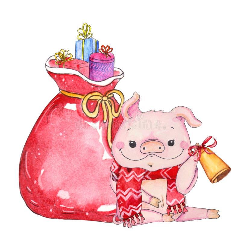 Bolso de juguetes con los elementos de la Navidad ilustración del vector