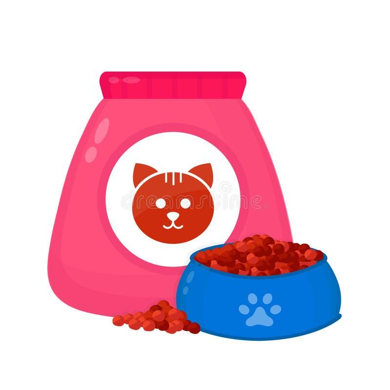Bolso de la comida para gatos, alimentación adentro un cuenco stock de ilustración