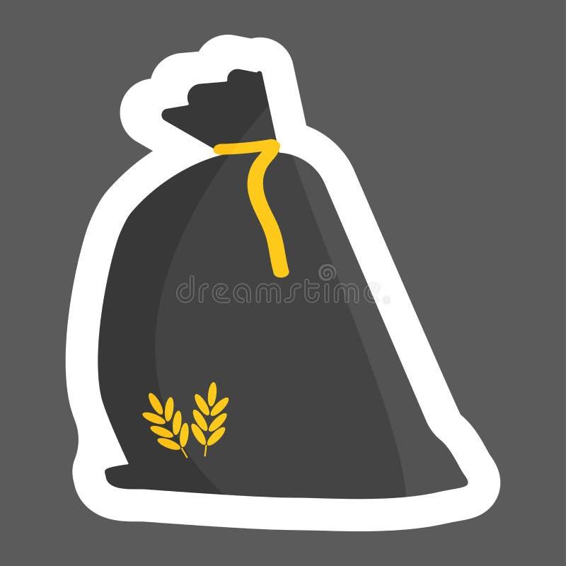Bolso de la harina Trigo del cereal, avena, centeno St coloreado harina del vector stock de ilustración