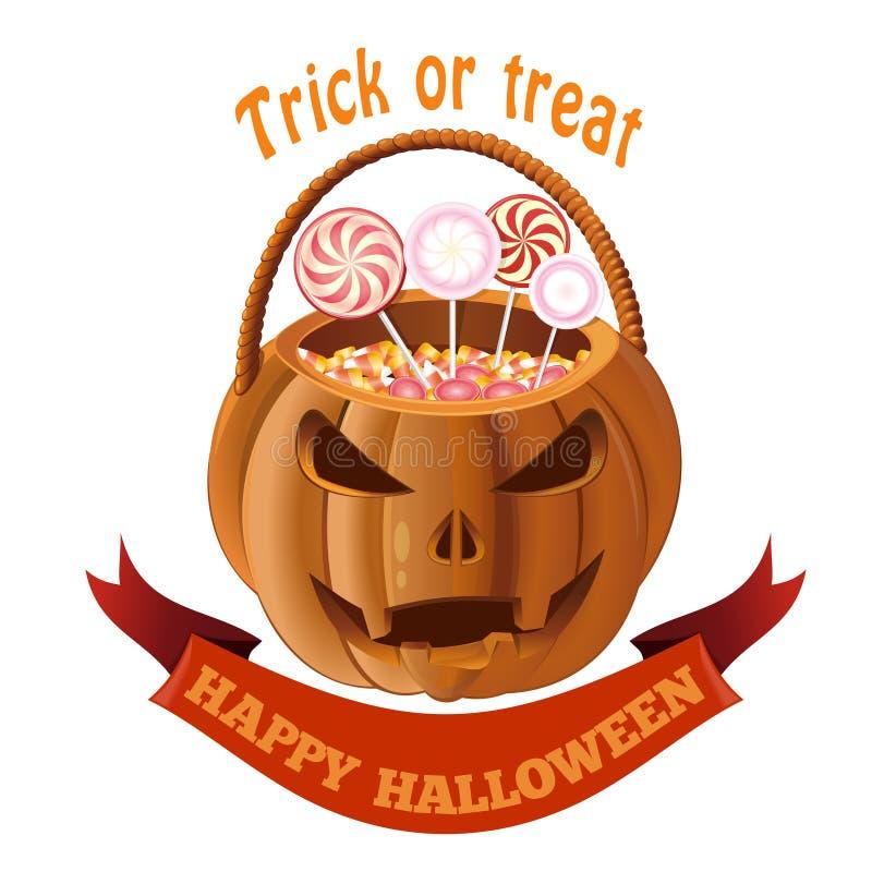 Bolso de la linterna de Jack o con el caramelo Cesta de Halloween libre illustration