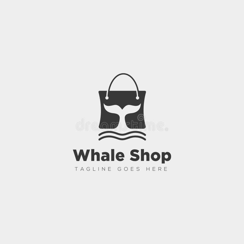 bolso de la moda shoping con el tipo simple elemento del logotipo de la ballena del icono del ejemplo del vector de la plantilla libre illustration