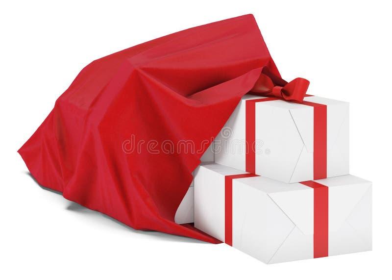 Bolso de la Navidad con los regalos Bolso de Santa Claus Año Nuevo Aislado en el fondo blanco fotos de archivo