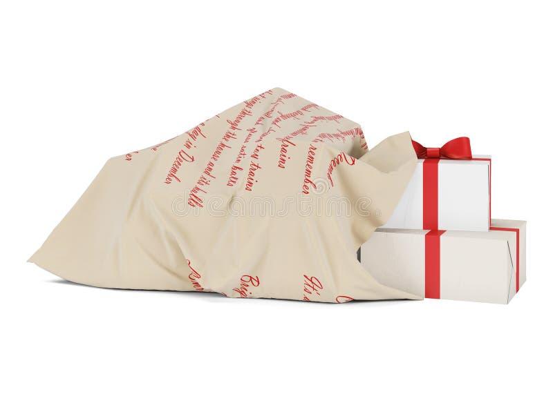 Bolso de la Navidad con los regalos Bolso de Santa Claus Año Nuevo Aislado en el fondo blanco ilustración del vector