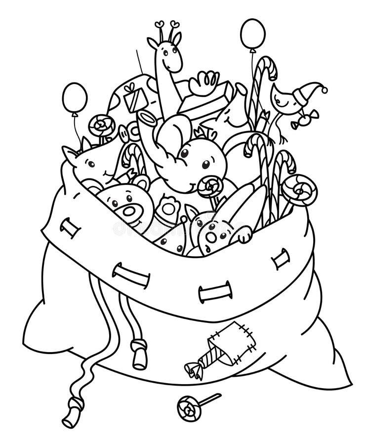 Bolso de la Navidad del vector con las historietas de los juguetes ilustración del vector