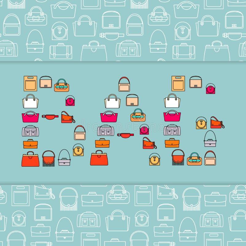 Bolso de la palabra con los iconos de los bolsos libre illustration