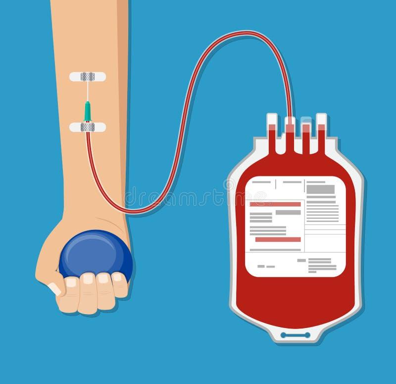 Bolso de la sangre y mano del donante con la bola stock de ilustración