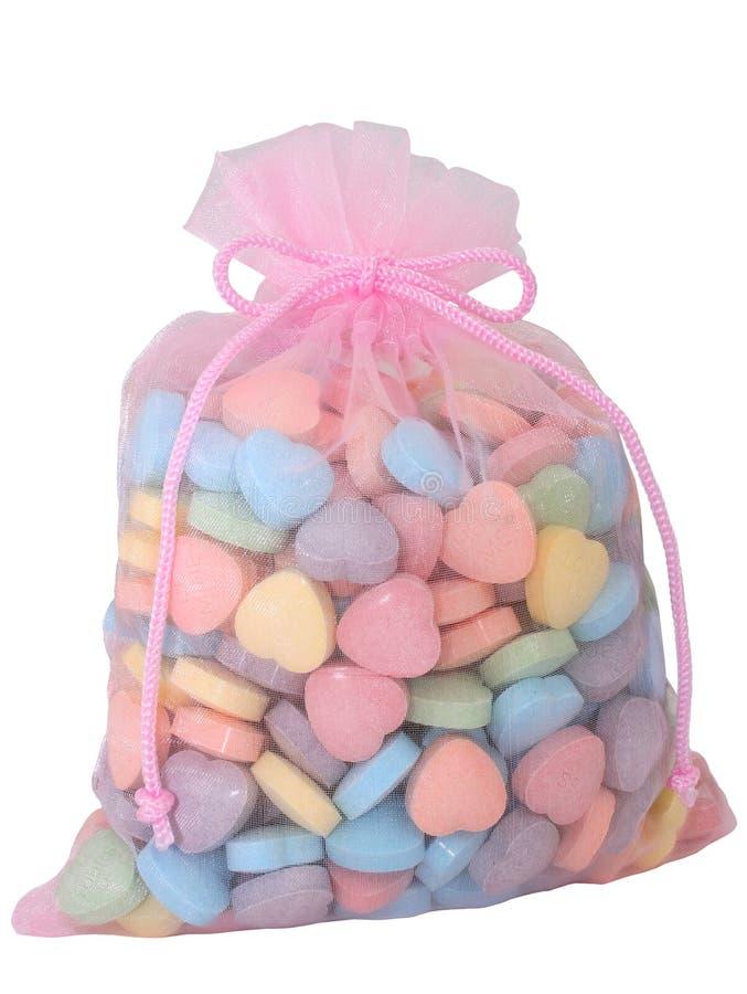 Bolso de los caramelos en forma de corazón (imagen 8.2mp) imagenes de archivo