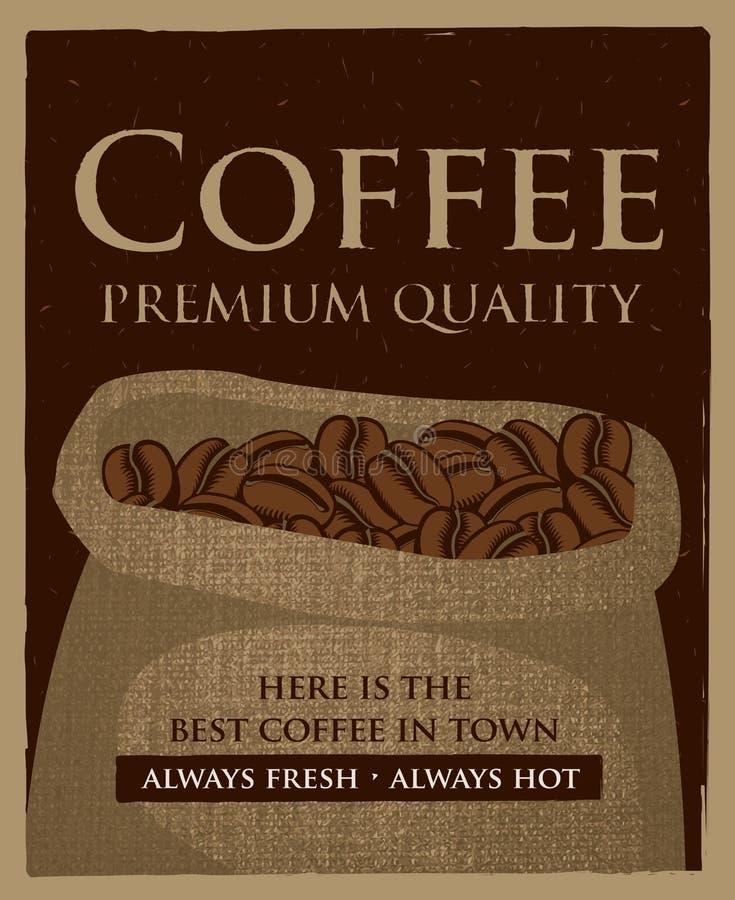 Bolso de los granos de café ilustración del vector