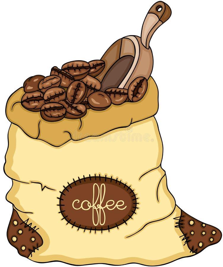 Bolso de los granos y de la cucharada de café stock de ilustración