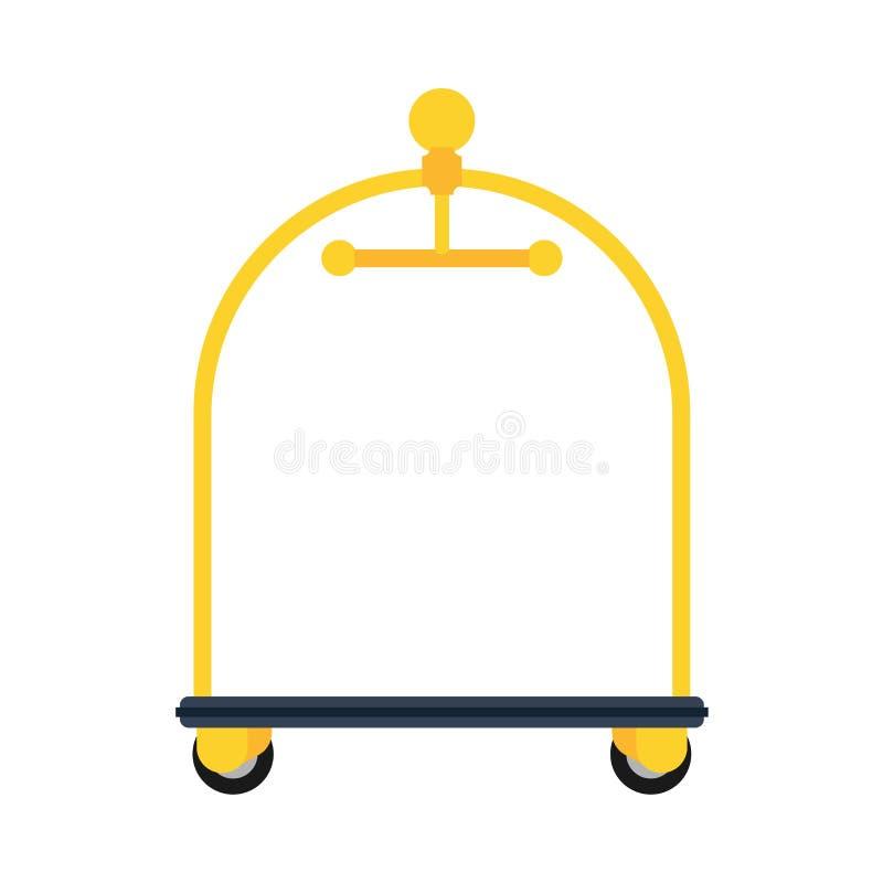 Bolso de oro de la recepción del equipaje del servicio del icono del vector del carro del hotel Suspensión del negocio del motel  libre illustration
