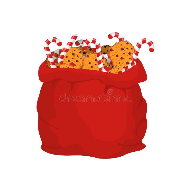 Bolso de Papá Noel de galletas y del palillo de la hierbabuena Saco de la Navidad y co stock de ilustración