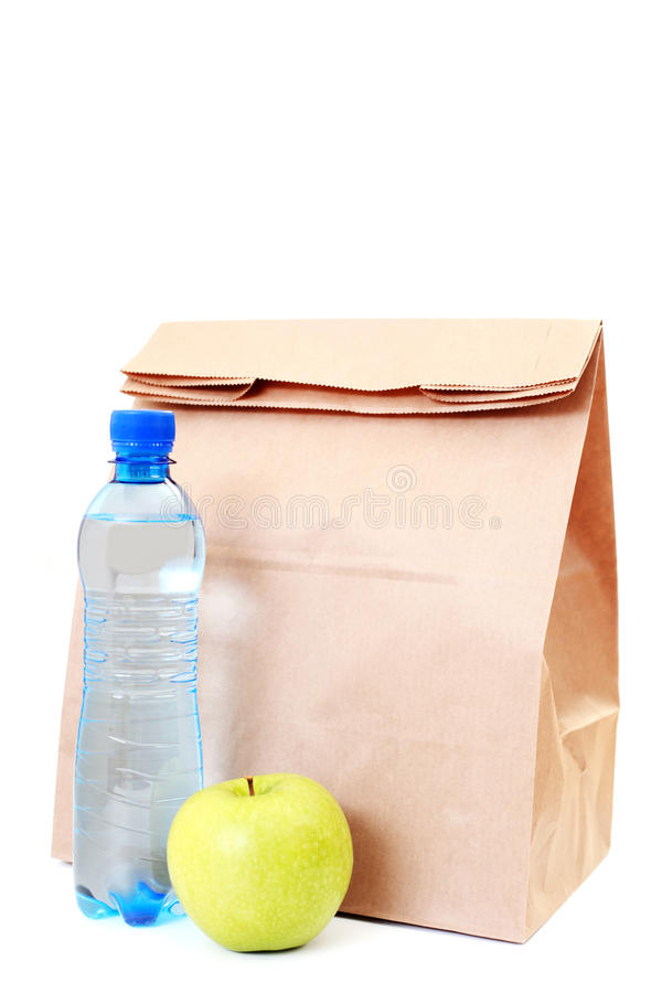 Bolso de papel del almuerzo imágenes de archivo libres de regalías