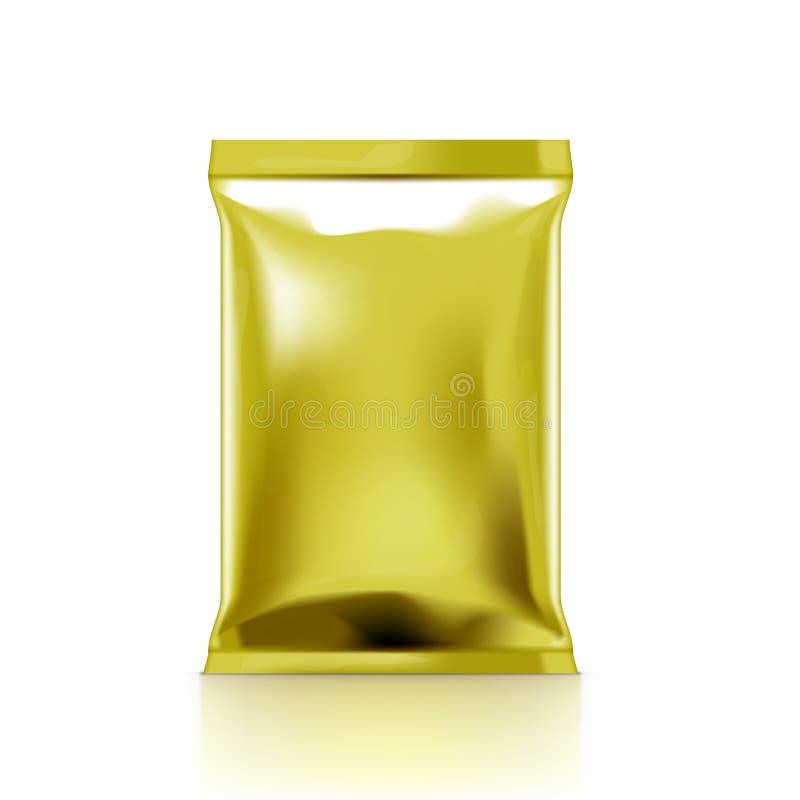 Bolso de plástico transparente de oro que empaqueta para el bocado ilustración del vector