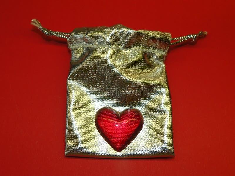Bolso de plata del regalo fotografía de archivo libre de regalías