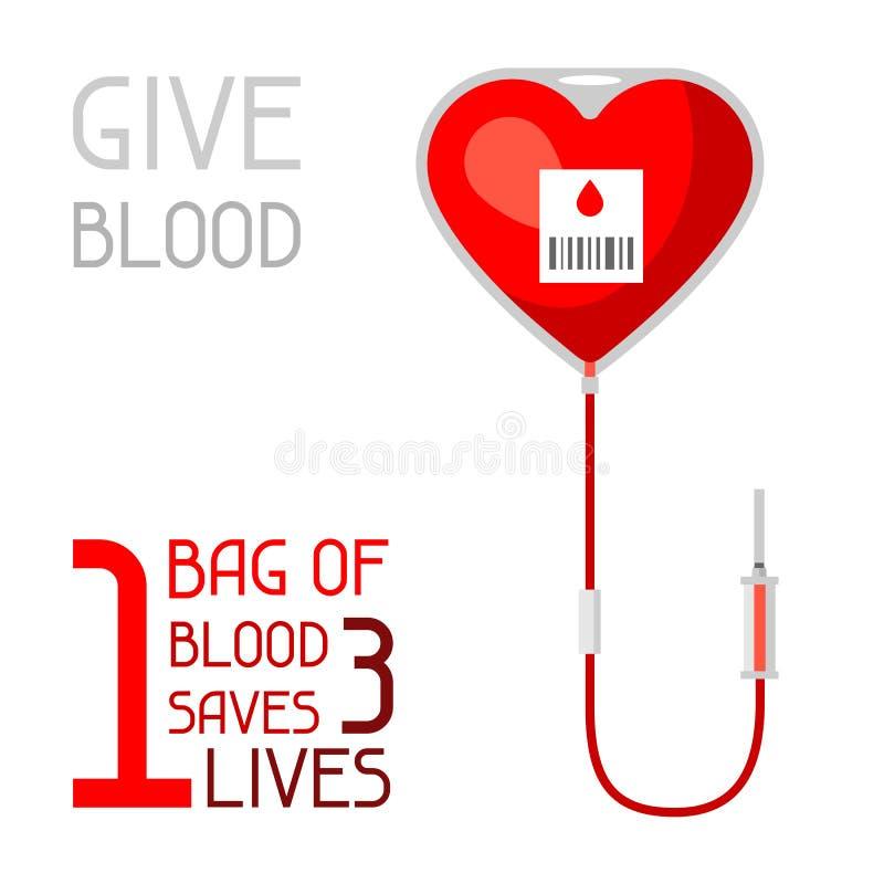 1 bolso de sangre ahorra 3 vidas Concepto médico y de la atención sanitaria libre illustration