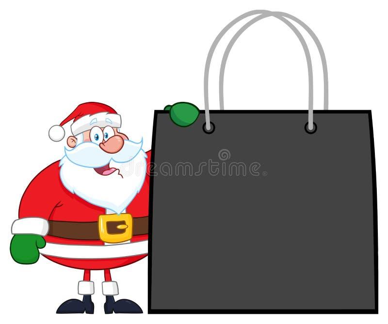Bolso de Santa Claus Cartoon Character Showing Shopping stock de ilustración