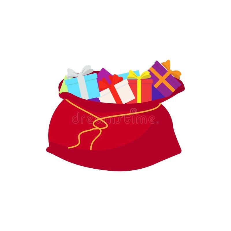 Bolso de Santa Claus del vector con los regalos aislados Ilustración EPS 10 del vector ilustración del vector