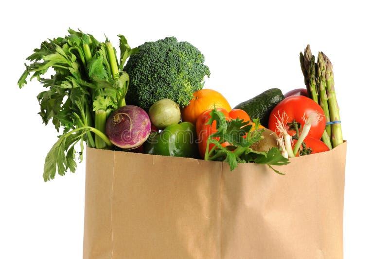 Bolso de tienda de comestibles con las frutas y verdura imagen de archivo libre de regalías