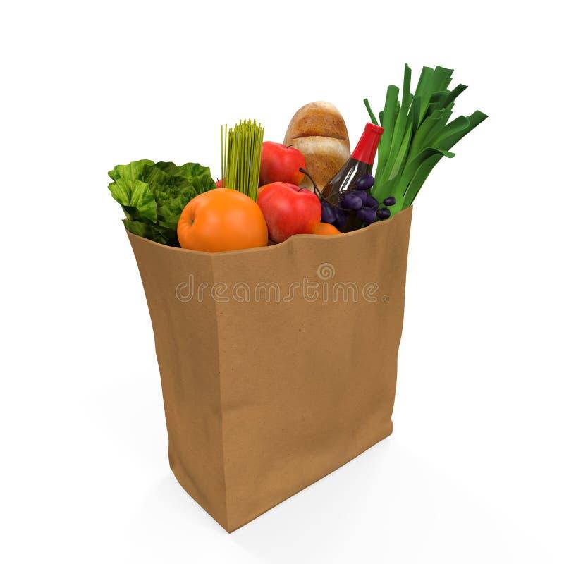 Bolso de ultramarinos con la comida ilustración del vector