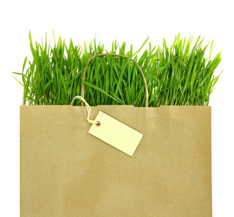Bolso de ultramarinos con por completo de la hierba verde fresca fotografía de archivo libre de regalías