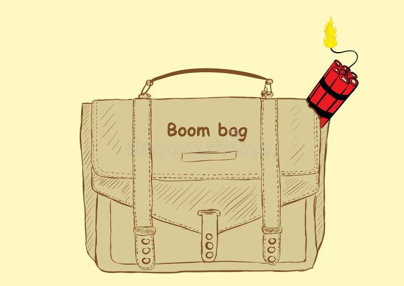 Bolso del auge con dinamita stock de ilustración