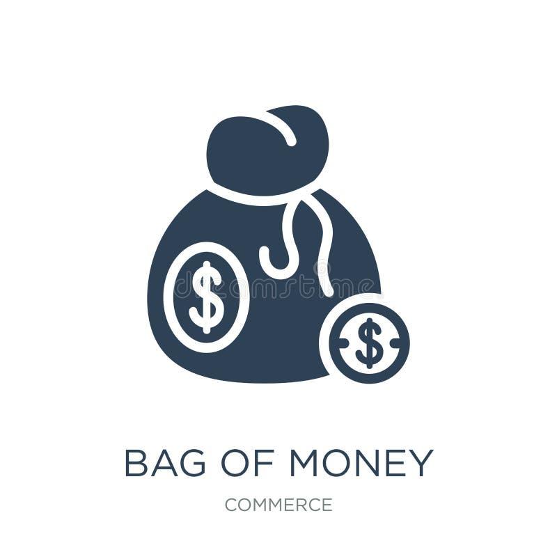 bolso del dinero con el icono del dólar en estilo de moda del diseño bolso del dinero con el icono del dólar aislado en el fondo  stock de ilustración